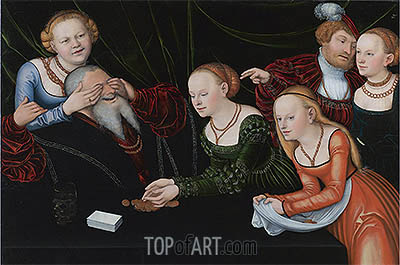 Old Man Beguiled by Courtesans, undated | Lucas Cranach | Gemälde Reproduktion