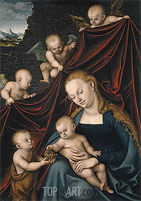The Virgin with the Christ Child, Saint John and Angels, 1536 | Lucas Cranach | Gemälde Reproduktion