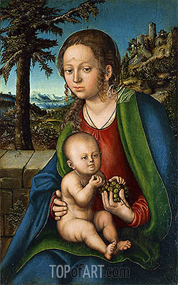 The Virgin with Child with a Bunch Grapes, c.1510 | Lucas Cranach | Painting Reproduction
