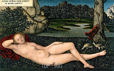 The Nymph at the Fountain, c.1530/34 | Lucas Cranach | Painting Reproduction