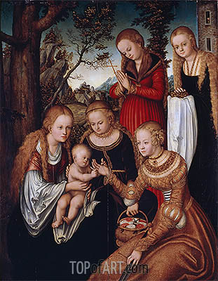 (Marriage of St Catherine) The Virgin and Child with Sts Catherine, Dorothy, Margaret and Barbara, 1516 | Lucas Cranach | Painting Reproduction