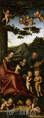 The Holy Family Surrounded by Angels, c.1510/15 | Lucas Cranach | Gemälde Reproduktion