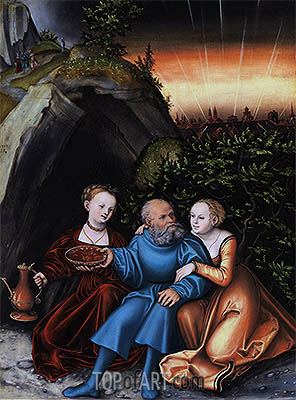 Lot and his Daughters, 1533 | Lucas Cranach | Gemälde Reproduktion