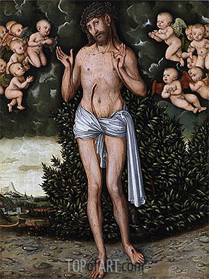 Christ as the Man of Sorrows, a.1537 | Lucas Cranach | Gemälde Reproduktion