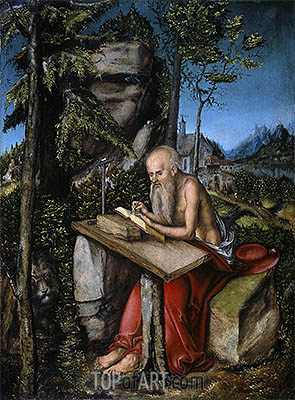 St Jerome in a Rocky Landscape, c.1515 | Lucas Cranach | Painting Reproduction