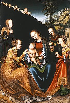 The Mystic Marriage of Saint Catherine of Alexandria with Saints Dorothy, Margaret and Barbara, c.1516/18 | Lucas Cranach | Painting Reproduction