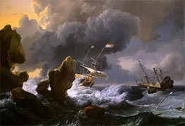 Ships in Distress off a Rocky Coast, 1667 by Bakhuysen | Painting Reproduction