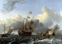 The 'Eendracht' and a Fleet of Dutch Men-of-war, c.1670/75 by Bakhuysen | Painting Reproduction
