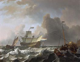 Ships in a Storm off Enkhuizen, c.1690 by Bakhuysen | Painting Reproduction