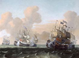 Battle at Sea between Hollanders and Pirates, c.1675 by Bakhuysen | Painting Reproduction