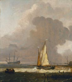 A Kaag Leaving the Shore in Stormy Weather, undated by Bakhuysen | Painting Reproduction
