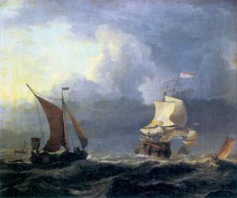 Ships in a Storm, c.1660 by Bakhuysen | Painting Reproduction