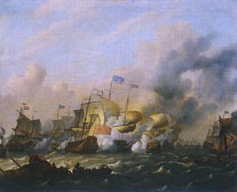 A Sea Battle between the Dutch and the English, c.1675/80 by Bakhuysen | Painting Reproduction