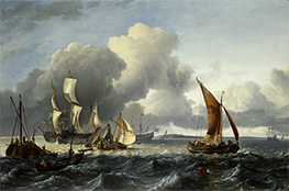 The Merchant Shipping Anchorage off Texel Island, 1665 by Bakhuysen | Painting Reproduction