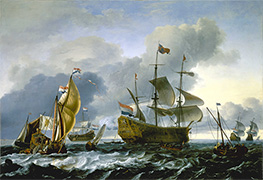 Dutch attack on the Medway: the Royal Charles carried into Dutch Waters, 12 June 1667, 1667 by Bakhuysen | Painting Reproduction