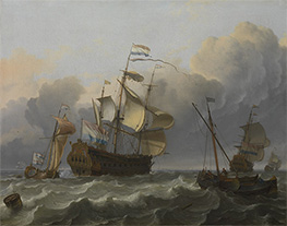 A Dutch Flagship with a Yacht Under Her Stern, 1694 by Bakhuysen | Painting Reproduction