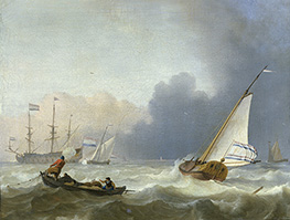 Rough Sea with a Dutch Yacht, 1694 by Bakhuysen | Painting Reproduction