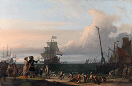 Dutch Ships in the Roads of Texel: in the middle the Gouden Leeuw, the Flagship of Cornelis Tromp, 1671 by Bakhuysen | Painting Reproduction
