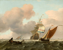 Rough Sea with Ships, 1697 by Bakhuysen | Painting Reproduction