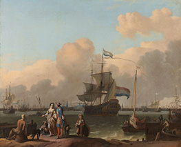The Y at Amsterdam, with the Frigate De Ploeg, c.1680/08 by Bakhuysen | Painting Reproduction