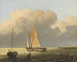 Seas off the Coast with Spritsail Barge, 1697 by Bakhuysen | Painting Reproduction