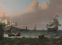 Dutch Men-of-war entering a Mediterranean Port, 1681 by Bakhuysen | Painting Reproduction
