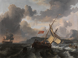 An English Vessel and a Man-of-war in a Rough Sea, c.1680/89 by Bakhuysen | Painting Reproduction