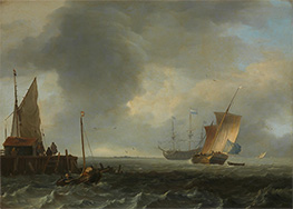 A View across a River near Dordrecht, c.1665 by Bakhuysen | Painting Reproduction