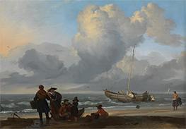 A Beach Scene with Fishermen, c.1665 by Bakhuysen | Painting Reproduction