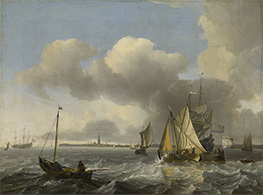 Vessels in a Breeze off Enkhuizen on the Zuider Zee, c.1683 by Bakhuysen | Painting Reproduction
