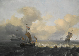 Dutch Vessels Off a Coastline on a Breezy Day, Undated by Bakhuysen | Painting Reproduction