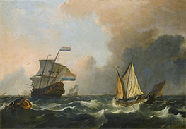 Shipping in Rough Waters Off the Dutch Coast, Undated by Bakhuysen | Painting Reproduction