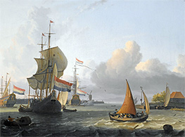 Shipping on the IJ at Volewijk near Amsterdam, Undated by Bakhuysen | Painting Reproduction