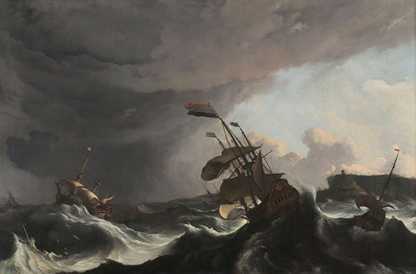 Ships in Distress in a Heavy Storm, c.1690 | Bakhuysen | Gemälde Reproduktion