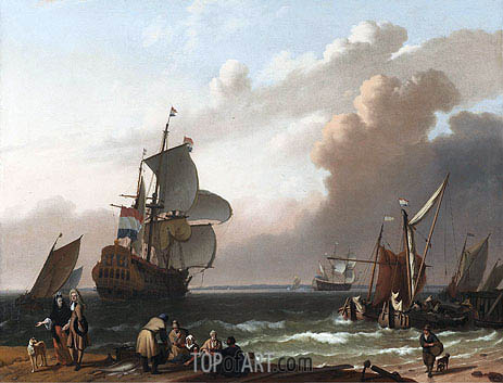 Coastal Scene with a Man-of-War and other Vessels, 1692 | Bakhuysen | Painting Reproduction