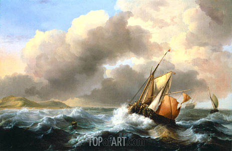 Fishing Vessels Offshore in a Heavy Sea, 1684 | Bakhuysen | Painting Reproduction