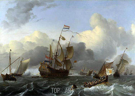 The 'Eendracht' and a Fleet of Dutch Men-of-war, c.1670/75 | Bakhuysen | Painting Reproduction