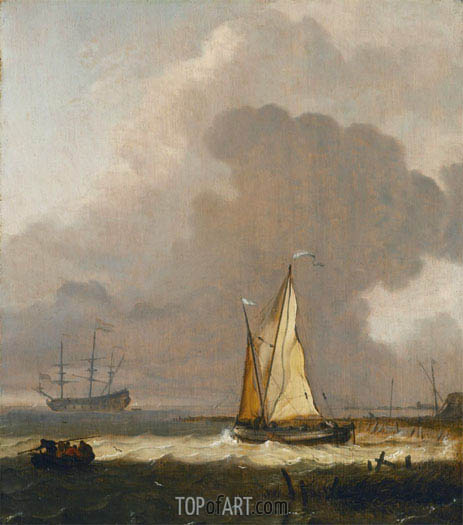 A Kaag Leaving the Shore in Stormy Weather, undated | Bakhuysen | Painting Reproduction