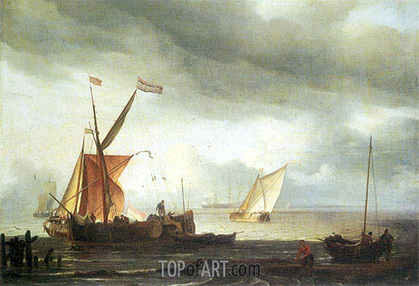 Dutch Craft Lying Close Onshore, c.1690 | Bakhuysen | Painting Reproduction