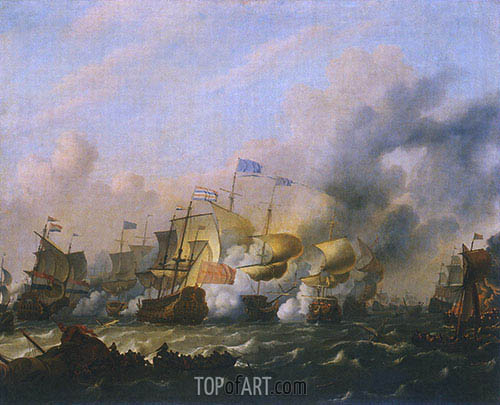 A Sea Battle between the Dutch and the English, c.1675/80 | Bakhuysen | Painting Reproduction