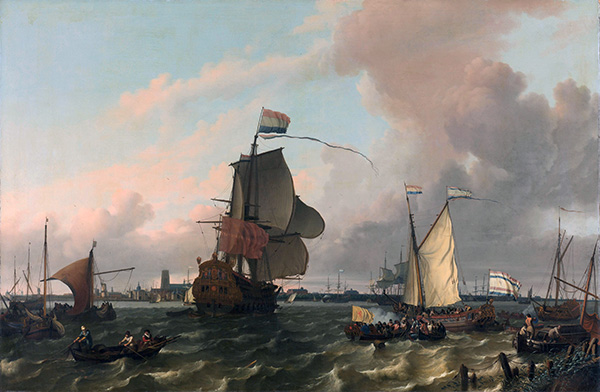 The Man-of-War Brielle on the River Maas off Rotterdam, 1689   Bakhuysen   Painting Reproduction