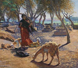 The Young Goat Herder of Shobrah, Egypt, 1911 by Ludwig Deutsch | Painting Reproduction