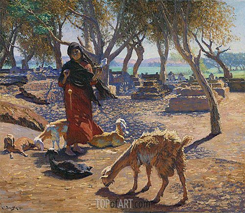 The Young Goat Herder of Shobrah, Egypt, 1911 | Ludwig Deutsch | Painting Reproduction