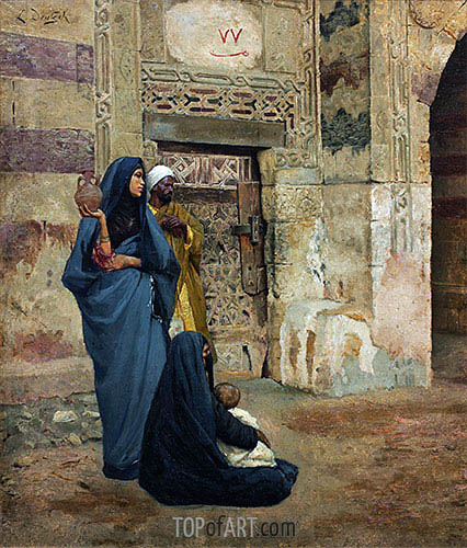 Family at the Door, undated | Ludwig Deutsch | Painting Reproduction
