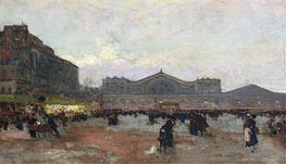 The Gare de l'Est, undated by Luigi Loir | Painting Reproduction