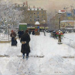 The Square du Temple, Paris in Winter | Luigi Loir | Painting Reproduction