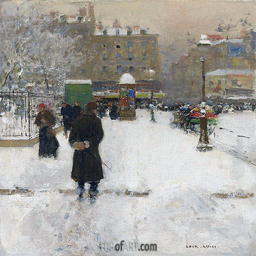The Square du Temple, Paris in Winter, c.1970 | Luigi Loir | Painting Reproduction