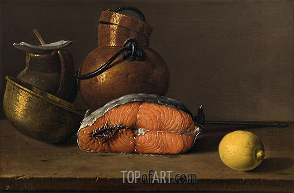 Still Life with Salmon, Lemon and Three Vessels, 1772 | Luis Egidio Meléndez | Painting Reproduction