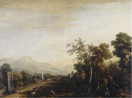 Landscape with Carriage and Travelers, undated by Marco Ricci | Painting Reproduction