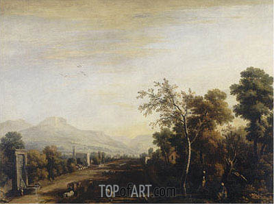 Landscape with Carriage and Travelers, undated | Marco Ricci | Gemälde Reproduktion